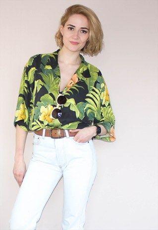 Vintage+90's+Silk+Tropical+Hawaiian++Shirt | Hawaiian outfit .