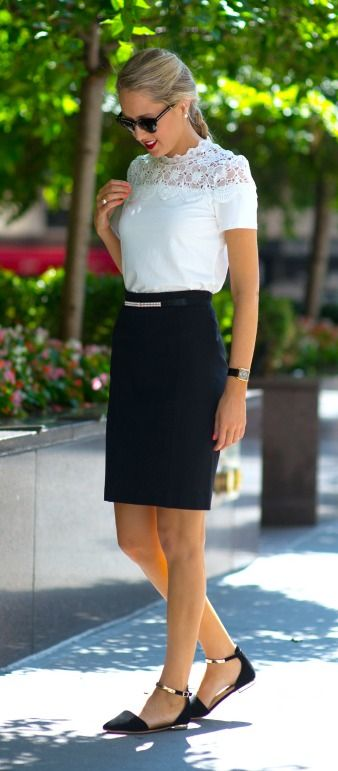 white lace short sleeve top, black pencil skirt, gold ankle strap .