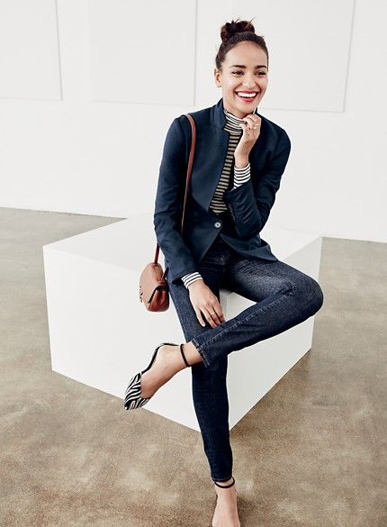 J. Crew Blazer and stripe top and flats.So clean and classy | Fall .