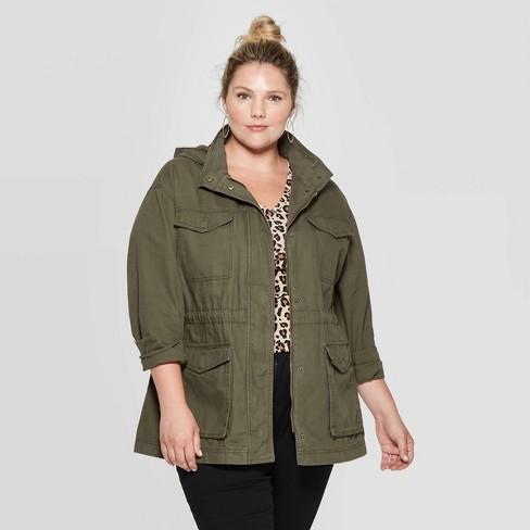 Women's Plus Size Utility Anorak Jacket - Ava & Viv™ Olive 2X : Targ