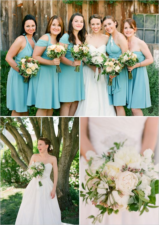 Chocolate Brown and Aqua Blue Wedding Ideas | Aqua bridesmaid .