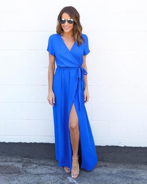 Solid Bardot Wrap Dress - Cobalt Blue | Blue dresses for women .