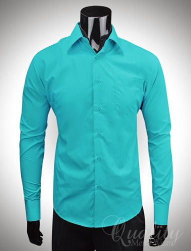 Teal Mens Dress Shirt; Grooms color ideas eBay | Mens shirt dress .