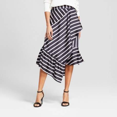 A New Day Women's Striped Asymmetrical Skirt - A New Day Black .
