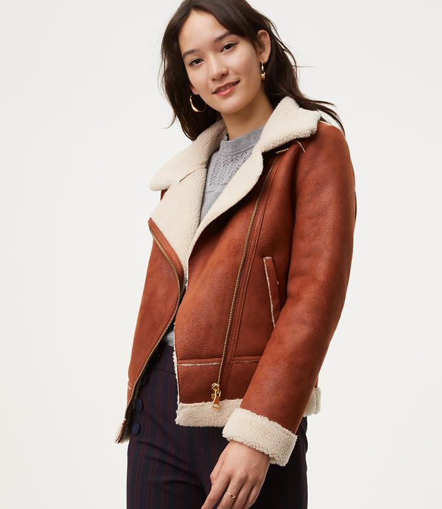 Fall Outfit Ideas - The cutest brown Faux Shearling & Faux Leather .