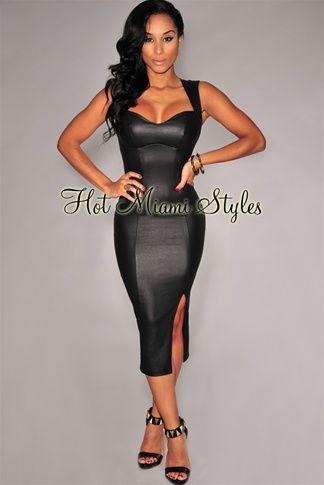 Black Faux Leather Key-Hole Back Padded Midi Dress | Celebrity .