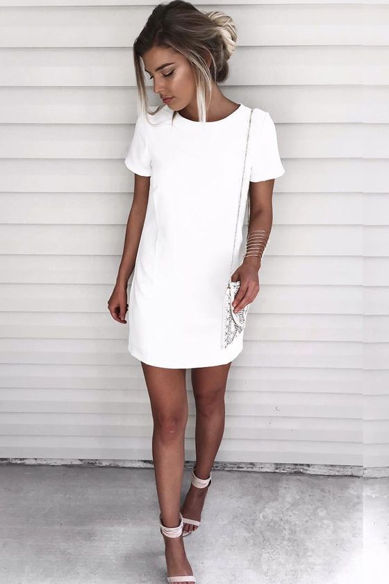Short sleeve shift dress with exposed gold back zipper. | Fashion .