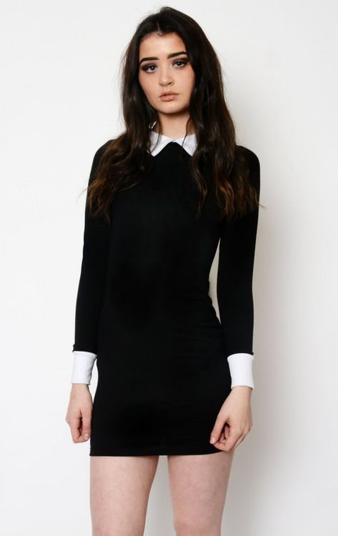 Long sleeved Wednesday Addams Collar Dress! White sharp collar and .
