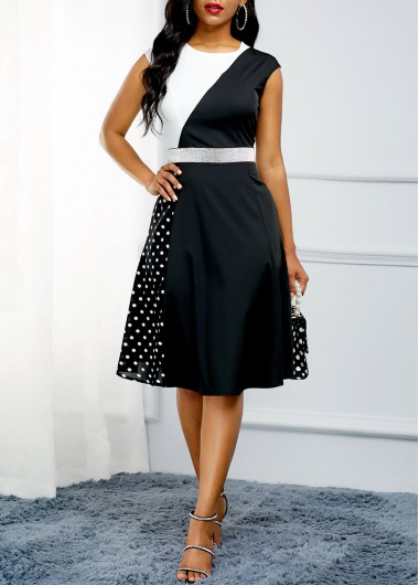 Back Zipper Polka Dot Print Color Block Dress | Dot print dress .