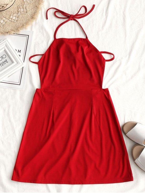 Back Zipper Open Back Mini Dress RED RUBBER DUCKY YELLOW | Classy .