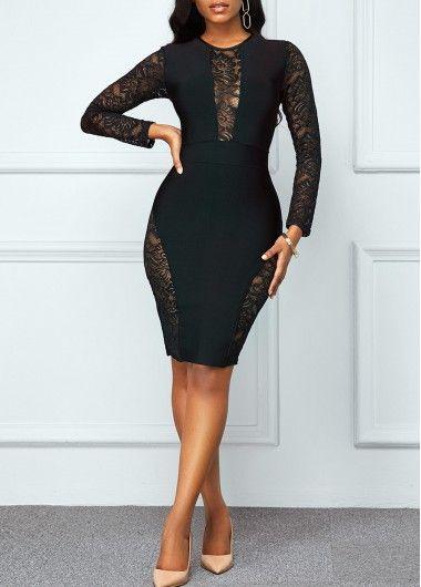 Lace Patchwork Long Sleeve Back Zipper Dress | Shop casual dress