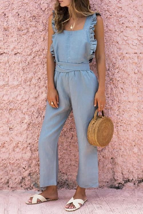 Bow Ruffled Backless Jumpsuit in 2020 | Casual jumpsuit, Fashion .