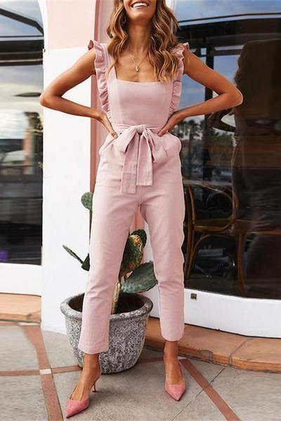 fashion Falbala Shoulder Straps Solid Color Waistband Jumpsuits .