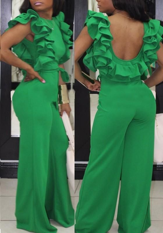 Green Ruffle Sashes One Piece Backless Elegant Party Wide Leg Long .