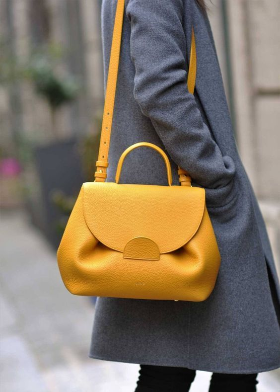 23 bright color handbag outfit ideas | School Related | Yellow .