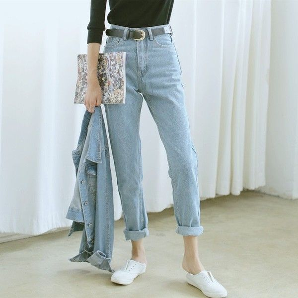 WQJGR HIGH WAIST JEANS BAGGY BOYFRIEND JEANS LIGHT BLUE (21.990 .