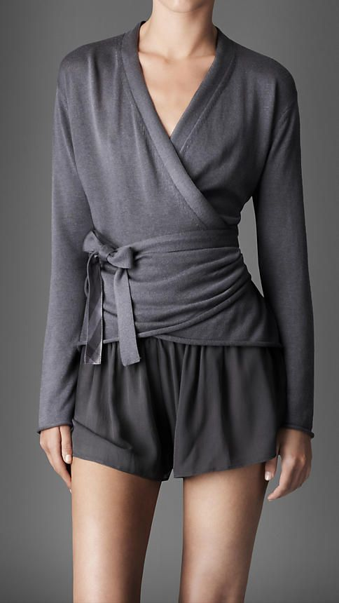 silk cotton wrap cardigan | Burberry I really like the grey colour .