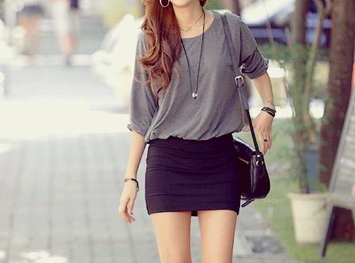 baggy shirt tight skirt | Fashion, Pencil skirt outfits, Bodycon .