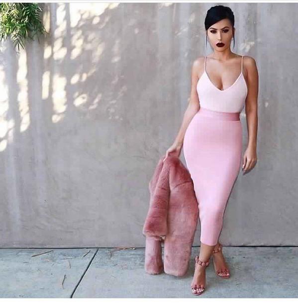 skirt, pencil skirt, pink skirt, high waisted skirt, outfit .