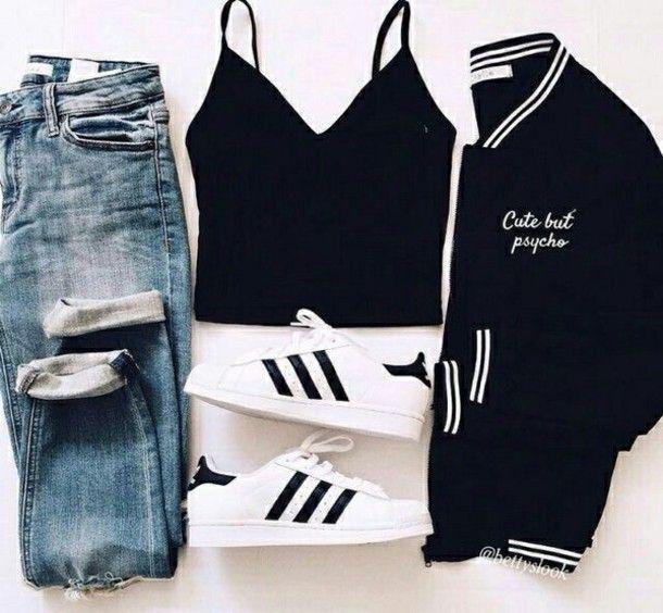 Jeans, crop-top, baseball jacket, blue jeans, black crop top .