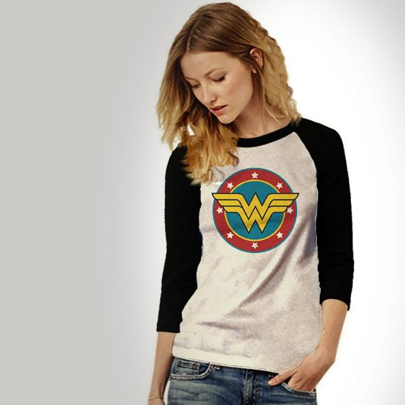 Wonder Woman Baseball Jersey Unisex Adults, Vintage Look Slogan .