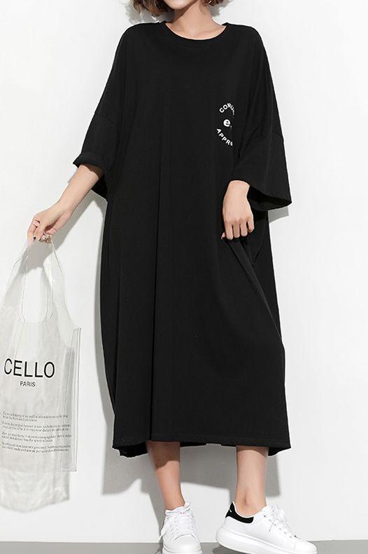 Style black print cotton Tunic plus size Fashion Ideas Batwing .