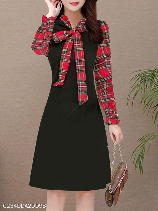 Tie Collar Plaid Batwing Sleeve Shift Dress #fashion #clothes .
