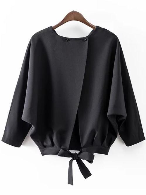 Shop ROMWE Black Batwing Sleeve Bow Split Blouse online!❤️Get .