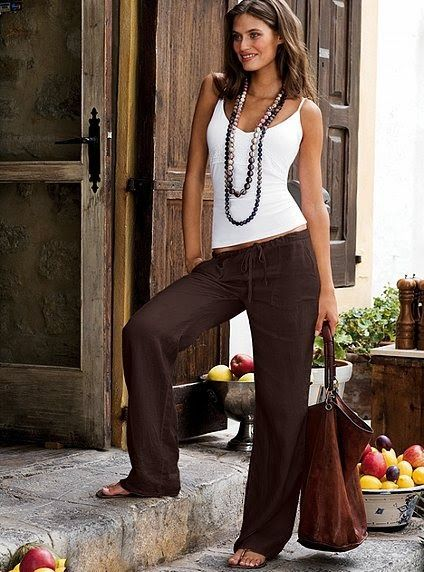 Image result for brown linen pants outfit ideas | Fashion, Linen .