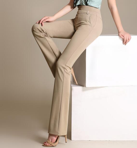 Flare pants women plus size 4 solid colour black white beige blue .