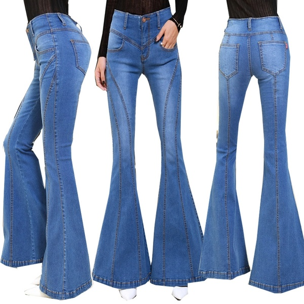 Stretching Flare Jeans Woman Elastic Bell-Bottoms Jeans For Girls .