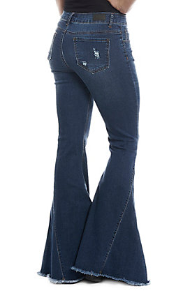 L&B Women's Dark Wash Bell Bottom Frayed Jeans | Cavender