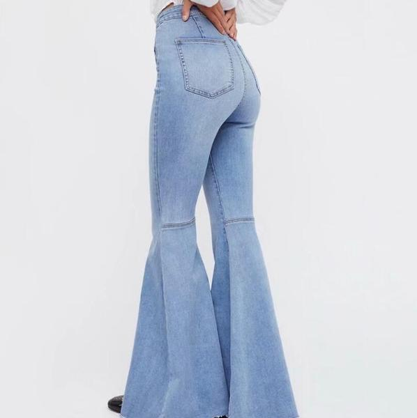 2018 spring autumn Wide Leg Distressed Flared Jeans Women vintage Sl