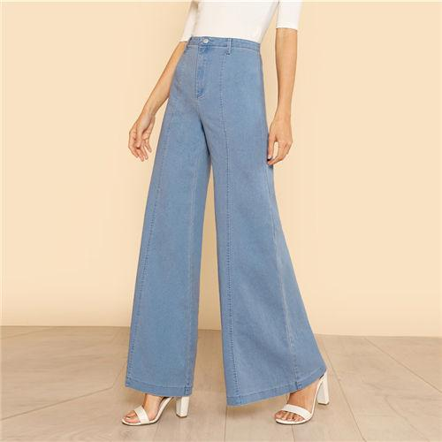 Sheinside Blue High Waist Elegant Denim Bell Bottom Jeans Office .