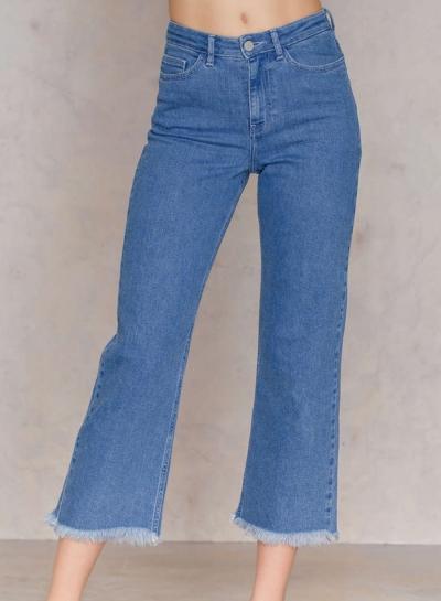 Women's Fashion High Waist Zipper Fly Bell-Bottom Jeans With .