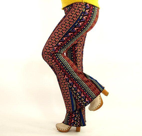 Boho stripe Bell bottoms/Native American Flare pants/Women .