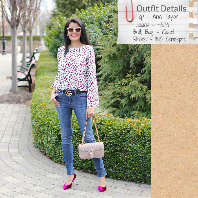 Style-Delights: Spring Outfit Idea: Bell Sleeve Blouse, Gucci .