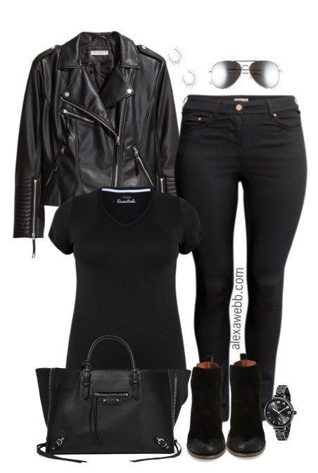 Plus Size Biker Jacket Outfit | Plus size leather jacket, Biker .
