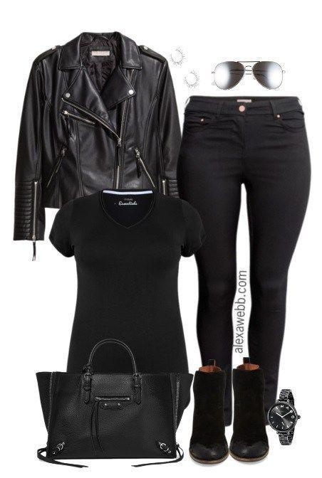 Plus Size Biker Jacket Outfit | Plus size leather jacket, Biker .