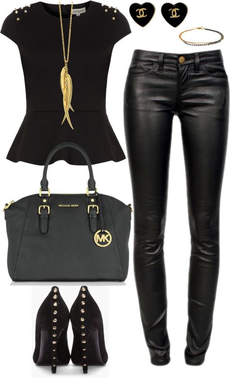 black and gold | Casual, Autumn fashion, Wom