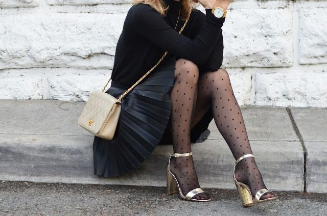 holiday style polka dot tights black and gold | Polka dot tights .