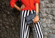 Red top with black and white striped pants | Fashion, Fashion .