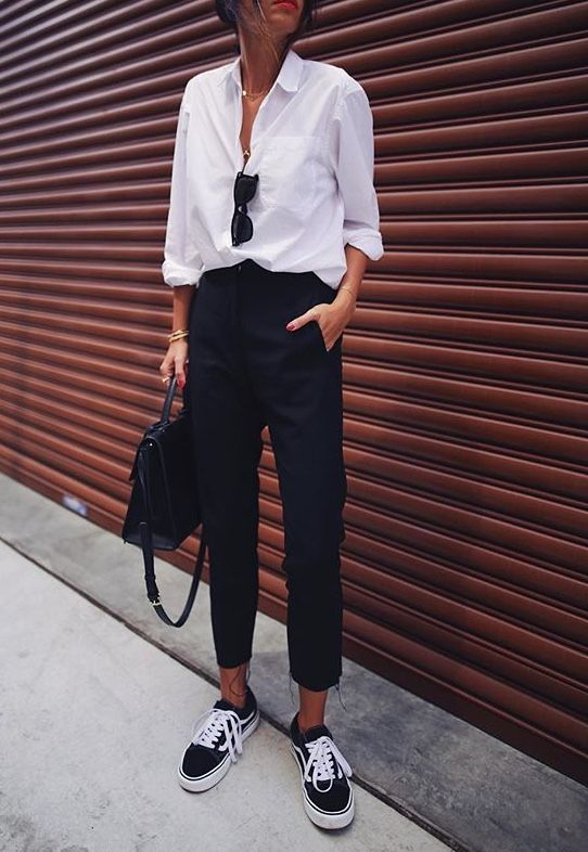 Cropped Pant and Sneakers | Button Front Blouse | White Shirt .