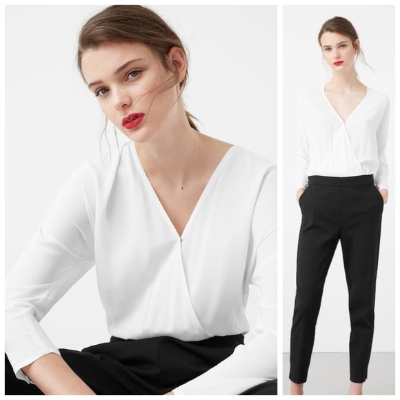 Mango Pants | Sale Wrap Black And White Jumpsuit | Poshma