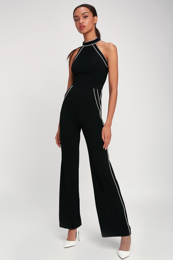 Mod Babe Black and White Sleeveless Jumpsuit | Ruffle jumpsuit .