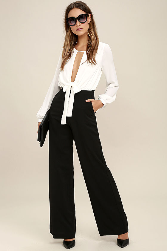 Sexy Black And White Jumpsuit - Wide-Leg Jumpsuit - $76.
