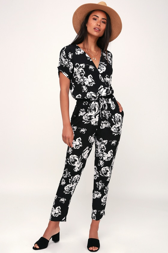 Cool Black Floral Print Jumpsuit - Black and White Jumpsu
