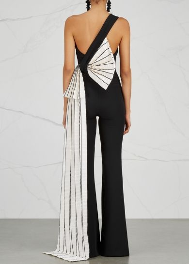 SAFiYAA | Black bow-embellished jumpsuit | Black and white .