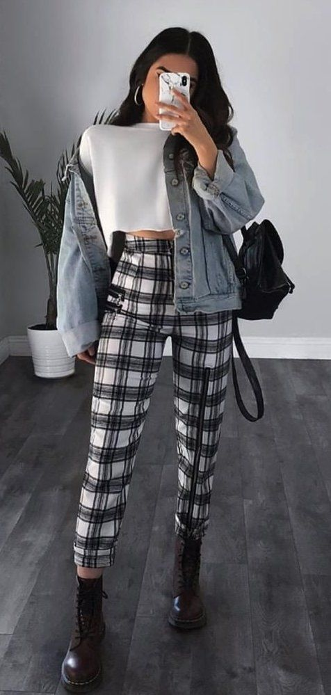 white and black plaid high-waisted pants #spring #outfits | Plaid .
