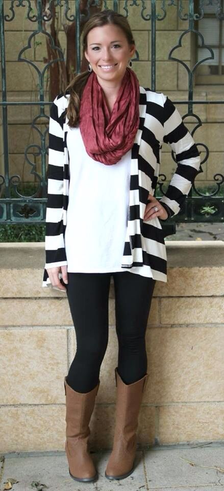 black and white outfits with red scarves | Black & White stripe .